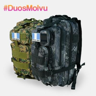 Duo Mochila M08 Negro Culebra y Verde Pixel